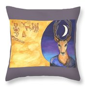 Stag Dreamer Throw Pillow by Cat Athena Louise