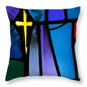 Stained Glass Cross Throw Pillow by Karen Lee Ensley