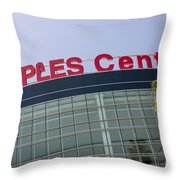 Staples Center Sign In Los Angeles California Throw Pillow by Paul Velgos