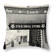 Star Drug Store Marquee Throw Pillow by Scott Pellegrin