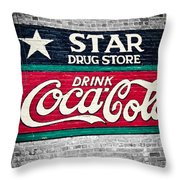 Star Drug Store Wall Sign Throw Pillow by Scott Pellegrin