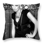 STAR GATE SEDUCTION BW Palm Springs Throw Pillow by William Dey