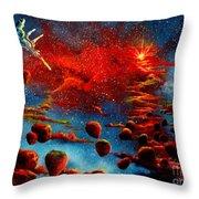 Starberry Nova Alien Excape Throw Pillow by Murphy Elliott
