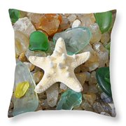 Starfish Fine Art Photography Seaglass Coastal Beach Throw Pillow by Baslee Troutman
