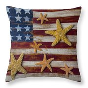 Starfish On American Flag Throw Pillow by Garry Gay