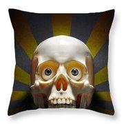 Staring Skull Throw Pillow by Carlos Caetano