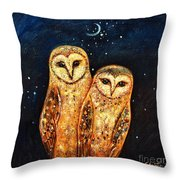 Starlight Owls Throw Pillow by Shijun Munns