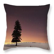 Stars In The Night Sky With Lone Tree Throw Pillow by Susan Dykstra