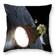 Starship Departing From Lunar Orbit Throw Pillow by Don Dixon