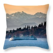 State Ferry And The Olympics Throw Pillow by Inge Johnsson
