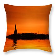Statue Of Liberty At Sunset Throw Pillow by John Farnan
