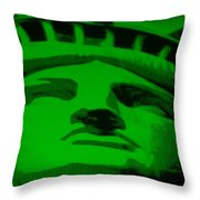 STATUE OF LIBERTY in GREEN Throw Pillow by ROB HANS