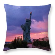Statue Of Liberty In Paris Throw Pillow by John Malone