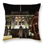Statues View Of Buckingham Palace Throw Pillow by Terri  Waters