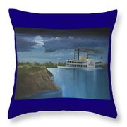 Steamboat On The Mississippi Throw Pillow by Stuart Swartz