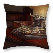 Steampunk - A Crusty Old Typewriter Throw Pillow by Mike Savad