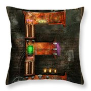 Steampunk - Alphabet - E Is For Electricity Throw Pillow by Mike Savad
