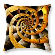 Steampunk - Clock - The flow of time Throw Pillow by Mike Savad