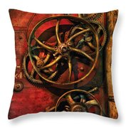 Steampunk - Clockwork Throw Pillow by Mike Savad