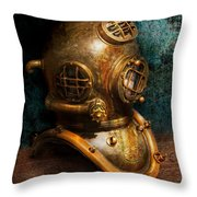 Steampunk - Diving - The Diving Helmet Throw Pillow by Mike Savad