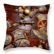 Steampunk - Gears - Reverse Engineering Throw Pillow by Mike Savad