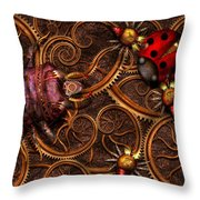 Steampunk - Insect - Itsy Bitsy Spiders Throw Pillow by Mike Savad