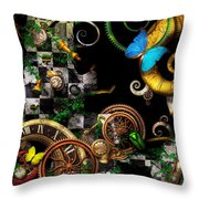 Steampunk - Surreal - Mind Games Throw Pillow by Mike Savad