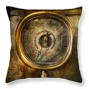 Steampunk - The Pressure Gauge Throw Pillow by Mike Savad