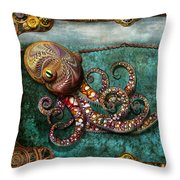 Steampunk - The Tale Of The Kraken Throw Pillow by Mike Savad