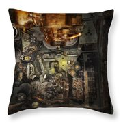 Steampunk - The Turret Computer  Throw Pillow by Mike Savad