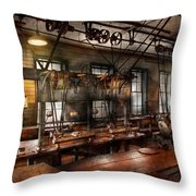 Steampunk - The Workshop Throw Pillow by Mike Savad