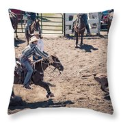 STEER TRIPPING Throw Pillow by Daniel Hagerman