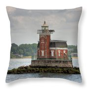 Stepping Stones Lighthouse I Throw Pillow by Clarence Holmes