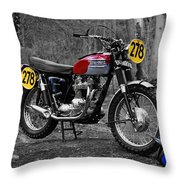 Steve Mcqueen Isdt 1964 Throw Pillow by Mark Rogan