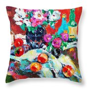Still Life In Studio With Blue Bottle Throw Pillow by Becky Kim