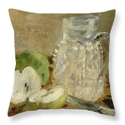 Still Life With A Cut Apple And A Pitcher Throw Pillow by Berthe Morisot