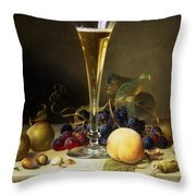 Still Life With A Glass Of Champagne Throw Pillow by Johann Wilhelm Preyer