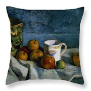 Still Life with Apples Cup and Pitcher Throw Pillow by Paul Cezanne
