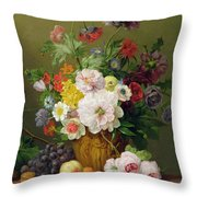 Still Life With Flowers And Fruit Throw Pillow by Anthony Obermann