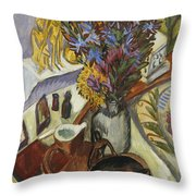Still Life With Jug And African Bowl Throw Pillow by Ernst Ludwig Kirchner
