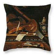Still Life With Musical Instruments Throw Pillow by Pieter Gerritsz van Roestraten