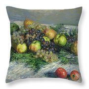 Still Life With Pears And Grapes Throw Pillow by Claude Monet