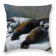 Still Life With Pheasants And Plovers Throw Pillow by Claude Monet
