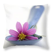 Still Life With Pink Flower On A Blue Spoon Throw Pillow by Frank Tschakert