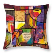 Still Life With Wine And Fruit Throw Pillow by Everett Spruill