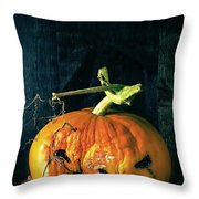 Stingy Jack - Scary Halloween Pumpkin Throw Pillow by Edward Fielding