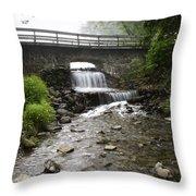 Stone Bridge Over Small Waterfall Throw Pillow by Christina Rollo