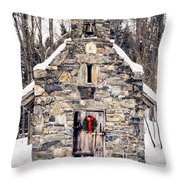 Stone Chapel In The Woods Trapp Family Lodge Stowe Vermont Throw Pillow by Edward Fielding
