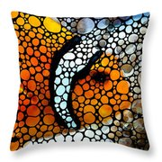 Stone Rock'd Clown Fish By Sharon Cummings Throw Pillow by Sharon Cummings