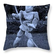 Stoneman In Cyan Throw Pillow by Rob Hans